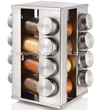 magnetic stainless steel jars spice rack set with stainless steel stand