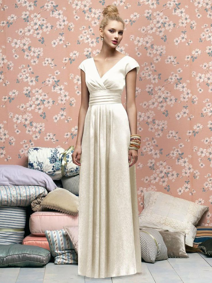 Flattering for all shapes I think!  Long bridesmaid dress with sleeves