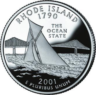 "Rhode Island became the 13th state in 1790 (see STATEHOOD ORDER).  Rhode Island's state quarter features nickname ""The Ocean State"" with  America's Cup yacht Reliance on Narragansett Bay, and Pell Bridge."
