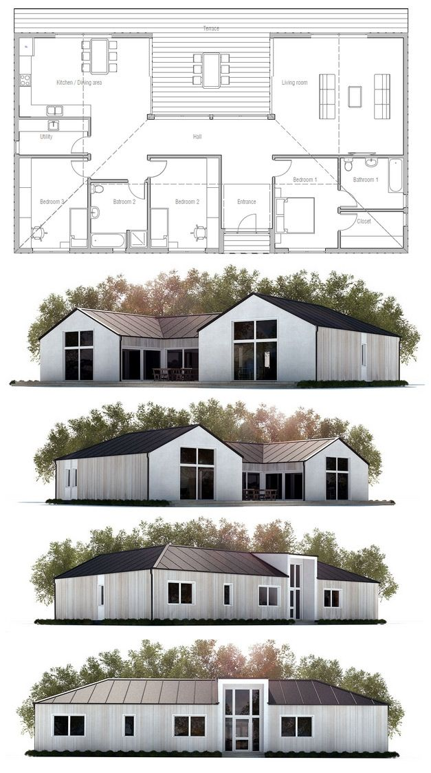 Small House Plan, Modern Farmhouse. Floor Plan-roof line, and shape, not floor plan