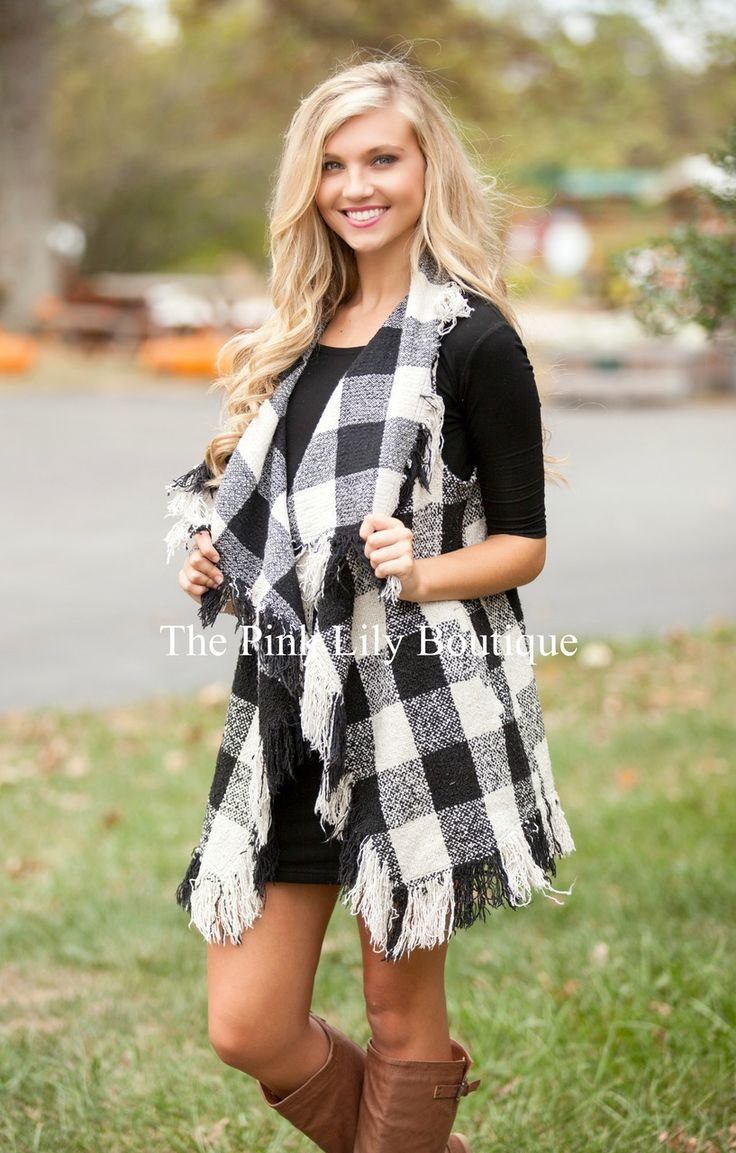 The Pink Lily Boutique - Rags To Riches Black Checkered Cardigan , $45.00 (http://thepinklilyboutique.com/rags-to-riches-black-checkered-cardigan/)