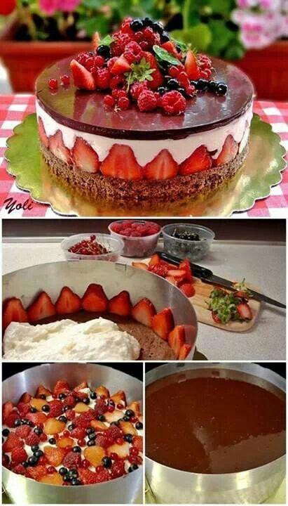 Heeeerlijke taart: chocolade en aardbeien. Meer moet dat niet zijn. #promobutlerrecept @nicole