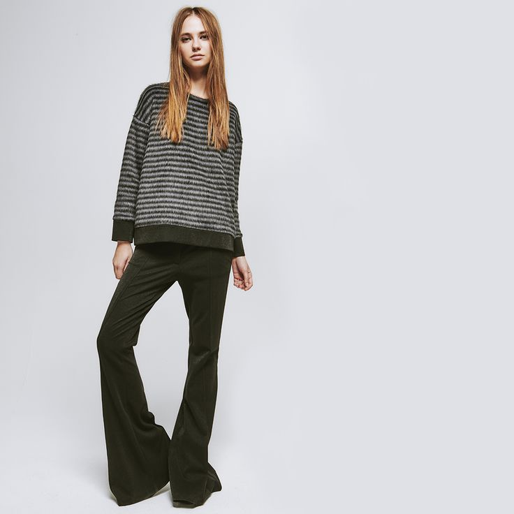 8PM striped knit sweater - flared pants