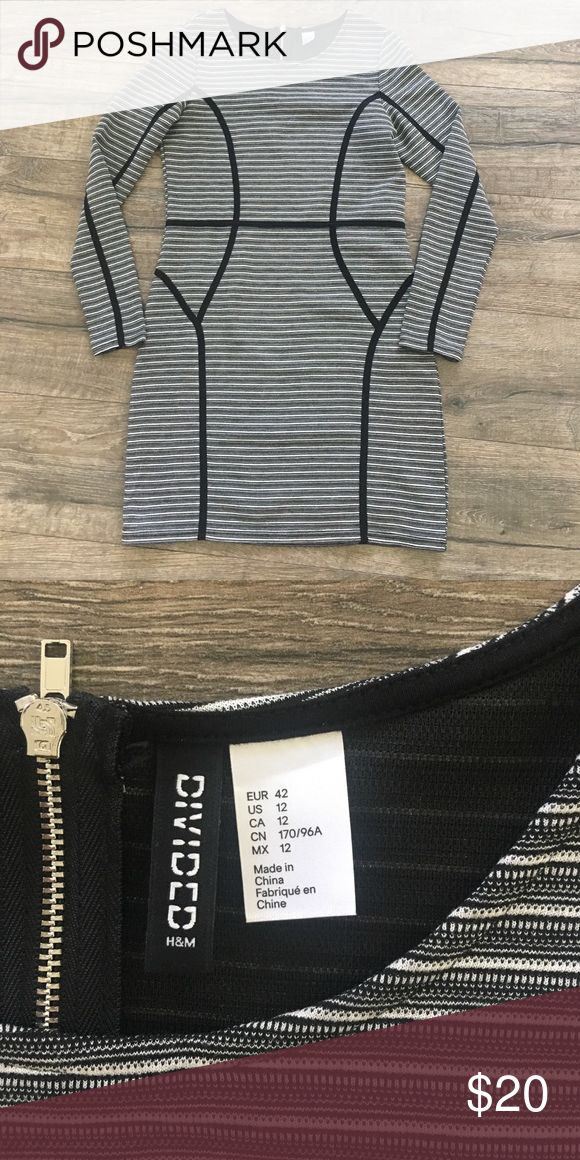 H&M Bodycon Dress NEVER WORN Black and white striped with flattering black piping detail. NEVER WORN. New without tags. Size runs small, more like an 8-10. H&M Dresses Mini