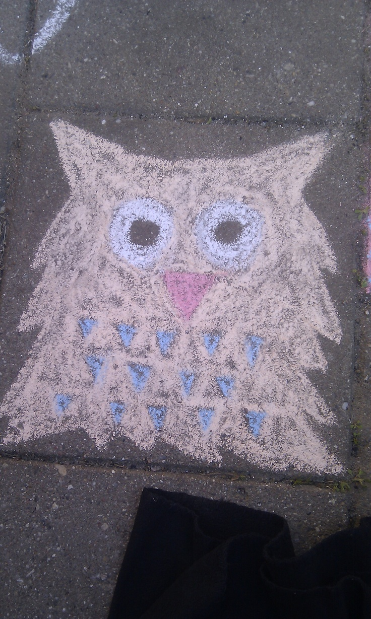 Chalk - Owl on the pavement