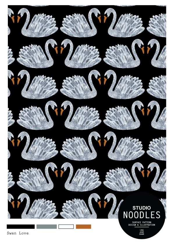 Swan Love. Surface Pattern design by Studio Noodles #swan #pattern