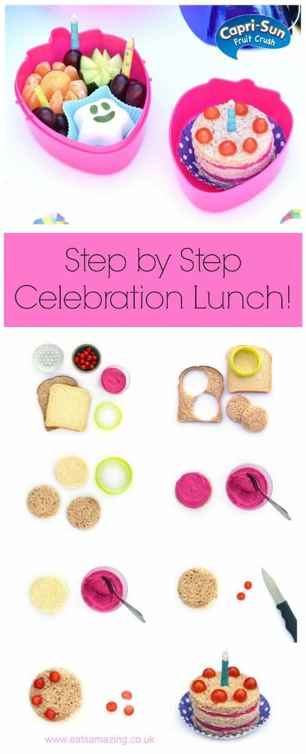 #ad Step by step instructions to make a fun kids birthday lunch – cute and healthy school lunch idea from Eats Amazing UK and Capri-Sun Fruit Crush