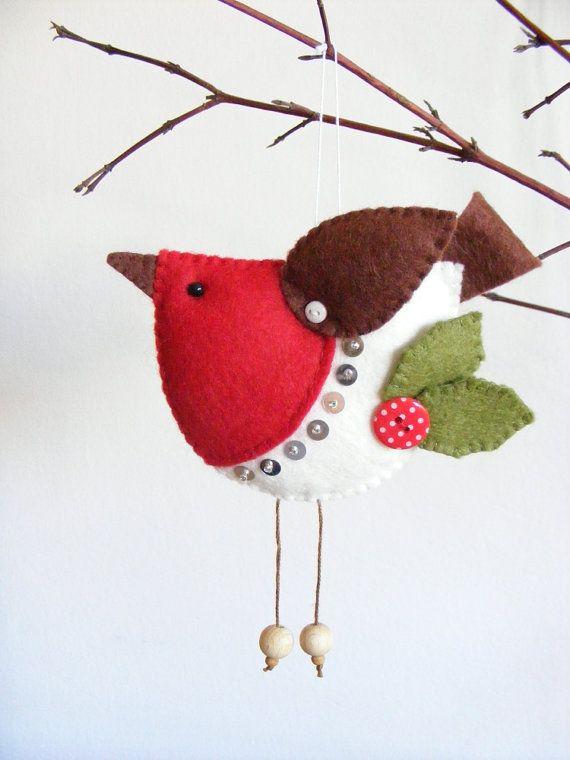 PDF pattern - Felt robin. Christmas tree ornament, easy sewing pattern, bird…