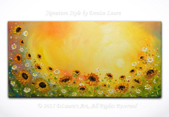 Hey, I found this really awesome Etsy listing at https://www.etsy.com/listing/269662492/sunflower-daisy-landscape-contemporary
