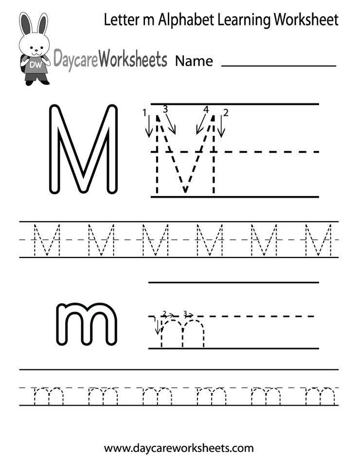 Draft Free Letter M Alphabet Learning Worksheet For