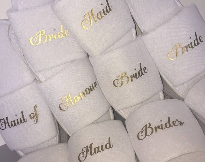 Personalised wedding Slippers, Bridal party gifts, Spa Slippers, Personalized bridal slippers, Hen weekend, Bridesmaid Gifts, hen slippers