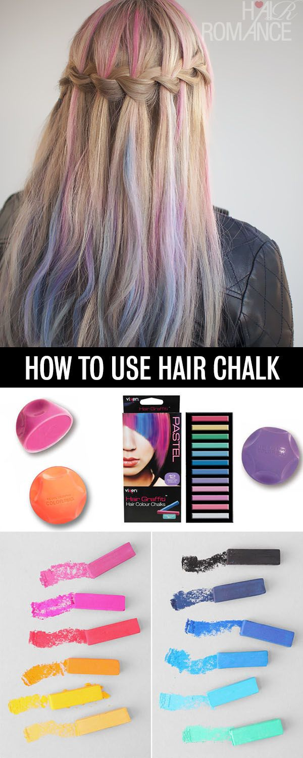 Hair Romance - How to use hair chalk.  This would be great for Halloween or as an alternative for kids who want to dye their hair.