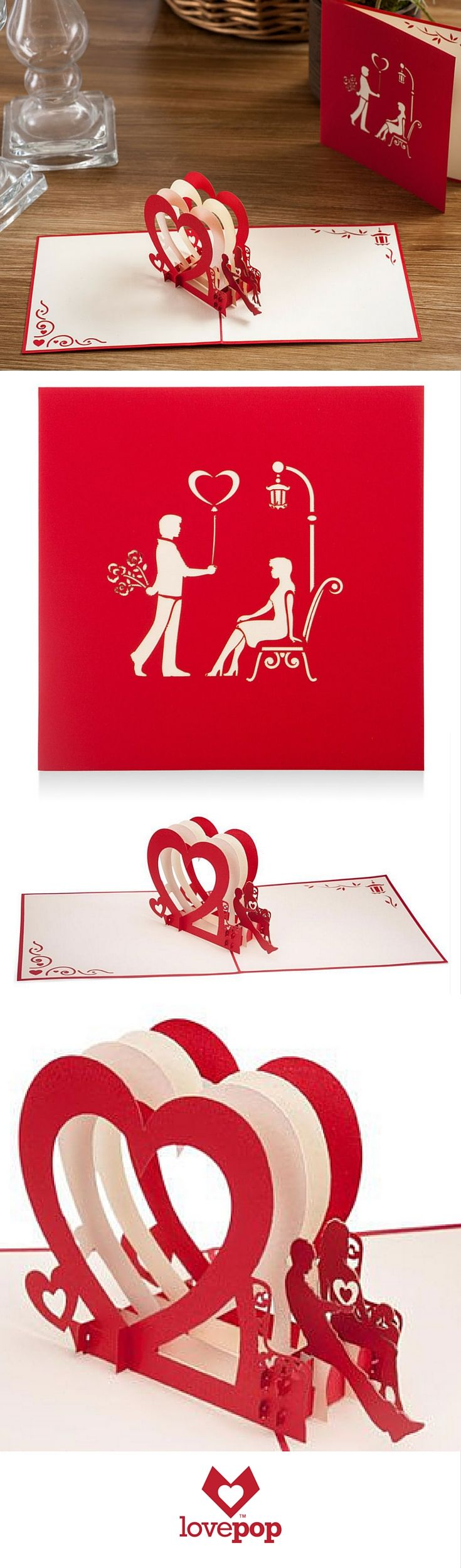 Say I love you with a unique 3D pop up greeting card. Perfect paper art for a proposal, wedding, or anniversary card.