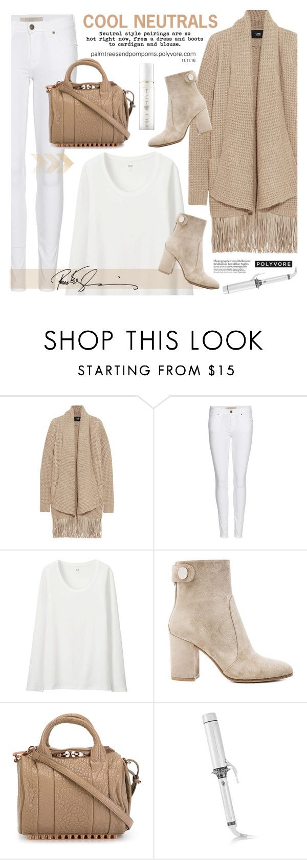 """""""Cool Neutrals / Alexander Wang Rockie Handbag"""" by palmtreesandpompoms ❤ liked on Polyvore featuring Line, Burberry, Uniqlo, Gianvito Rossi, Alexander Wang, T3, Eve Lom, AlexanderWang, neutrals and tessabit"""
