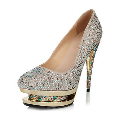 Paillette Women's Wedding naaldhak platform pumps met strass schoenen – EUR € 60.16