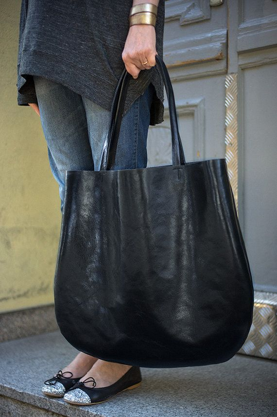 Black Oversized Leather Hobo Bag Tote bag in black by patkas