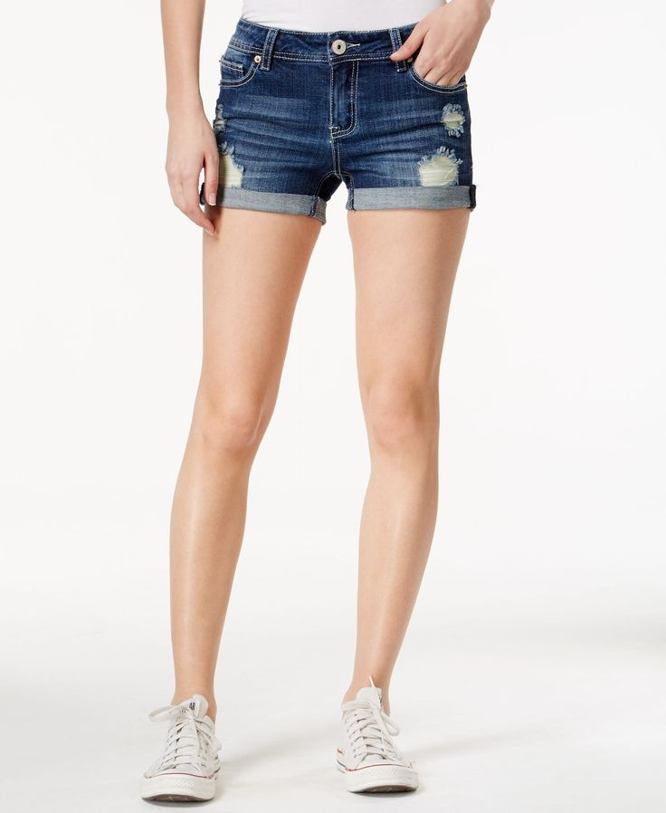 Vanilla Star Juniors' Ripped Mia Wash Denim Shorts