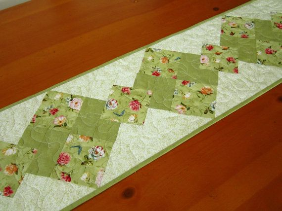 Spring Green Floral Quilted Table Runner by PatchworkMountain Ilove the quilting on this runner