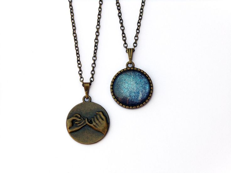 2 Pinky Promise Necklaces, Galaxy Necklace, matching necklaces, best friend jewelry, bff necklaces, pinky swear necklace, glitter necklace by AChicFairytale on Etsy https://www.etsy.com/listing/243867279/2-pinky-promise-necklaces-galaxy