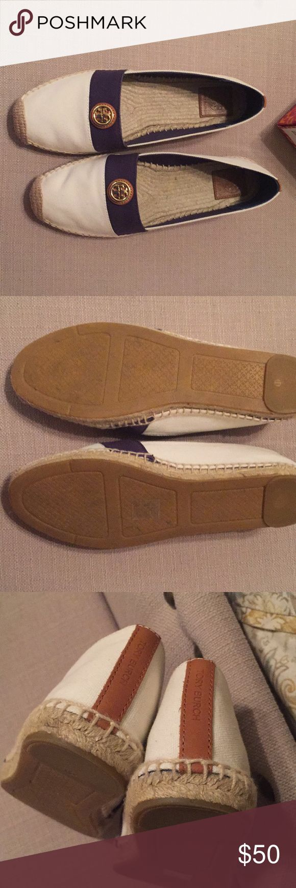 Tory Burch Espadrilles Ivory canvas with tan and Newport navy accents.  Size 11 worm once.  Comes with original box Tory Burch Shoes Espadrilles
