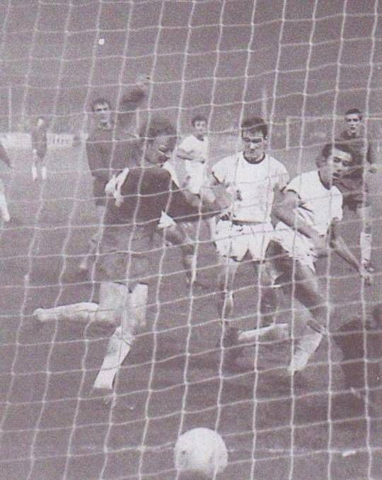 23rd October 1968. Billy Bremner scores the winner against Standard Liege, in the Fairs Cup 1st Round 2nd leg tie, at Elland Road. Forced to change in to their away strip, following a mix up with the visitors, Leeds found themselves two goals down with a fight on their hands.