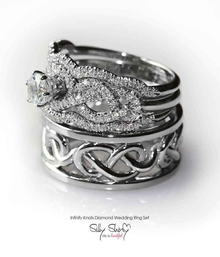 Silly Shiny Diamonds Bespoke Jewelry Design By Shanie Zak Infinity Knot Wedding Rings Set Includes Engagement Ring With Matching Band