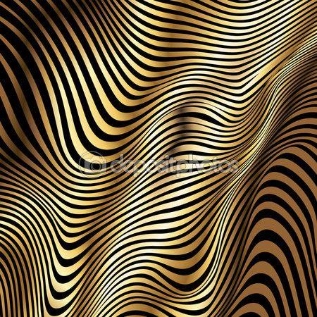 Золотые полосы вектор волны абстрактный фон — стоковая иллюстрация #89223284