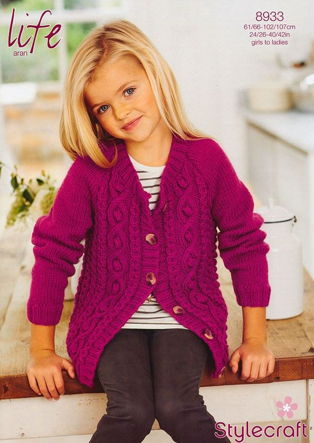Cardigan in Stylecraft Life Aran (8933) | Girls Knitting Patterns | Knitting Patterns | Deramores