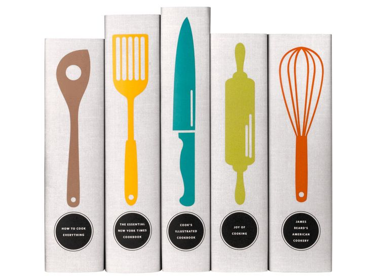 Classic Cookbooks - Utensils by Juniper Books | Includes The Essential New York Times Cookbook: Classic Recipes for a New Century by Amanda Hesser, James Beard's American Cookery, Joy of Cooking: 75th Anniversary Edition, How to Cook Everything by Mark Bittman and The Cook's Illustrated Cookbook by America's Test Kitchen