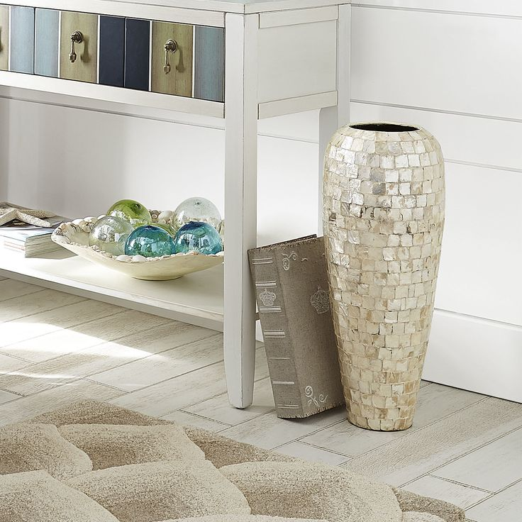 Ivory capiz shell vase large earthenware home decor - Capiz shell bathroom accessories ...