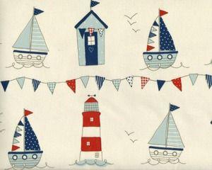 Laminierter Stoff / Wachstuch Clarke & Clarke MARITIME mit Booten, Leuchtturm und Wimpeln, rotbraun-helles taubenblau