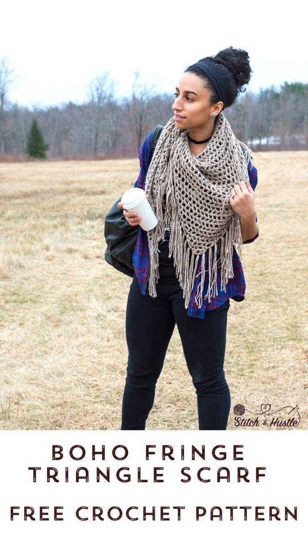 Boho Triangle Shawl Padrão De Crochet Livre