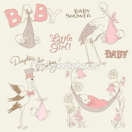 Винтаж baby девушка душ и прибытия набрасывает набор дизайн элементов
