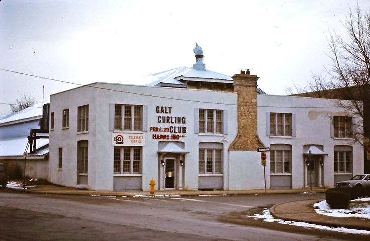 Galt Curling Club building, now the site of the Queen Square Library in Cambridge.