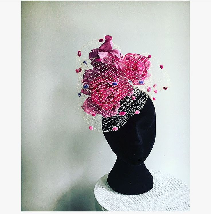 Ombré pink roses and multi coloured polkadot veiling. by RachelHenryMillinery on Etsy