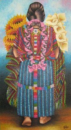 Mujer llevando flores. Pintura de Guatemala. Arnoldo Cruz Sunu.