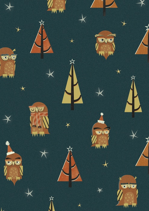 Joe Mclean produces this Owl gift wrap image. Joe is represented by The Art Market.