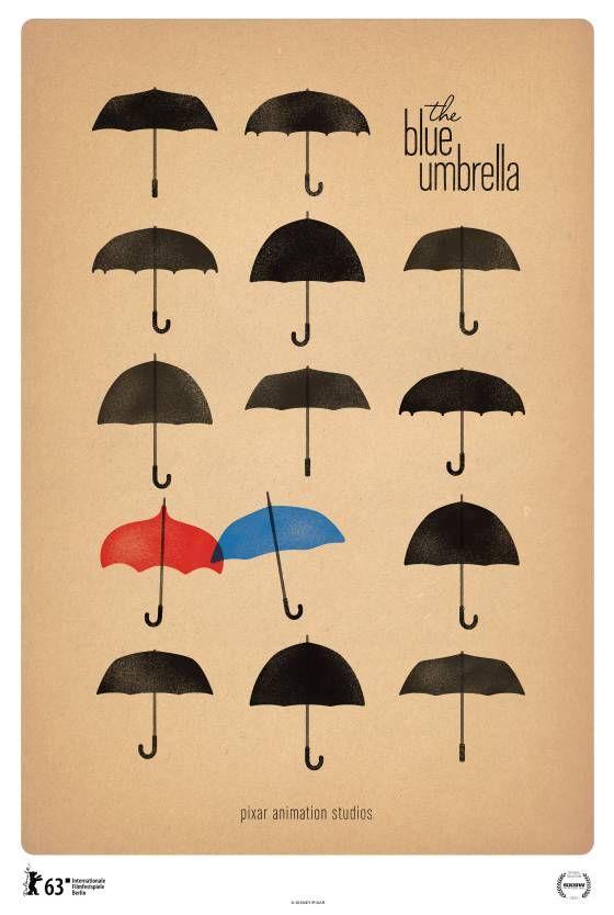 """Poster for Pixar's New Short, """"the blue umbrella"""""""
