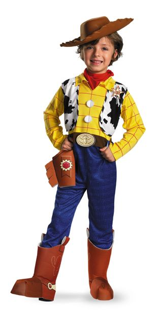 Deluxe Woody Toy Story Costume - Howdy Howdy howdy. This is a Woody from Toy Story costume. This awesome Woody from toy Story costume is easy to wear. His one piece suit includes a yellow top with red checkers, a sewn in cow vest, a Sheriff's badge, faux buttons and belt, and blue pants with attached cowboy boot tops. He also has a red scarf to go around the neck. The scarf and suit are made of a soft polyester. #toystory #pixar #disney #movie #woody #kids #children #yyc #calgary