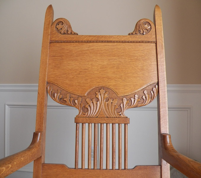 Detail From 1890 39 S Oak Chair Manufactured By The Skandia Furniture Company In Rockford