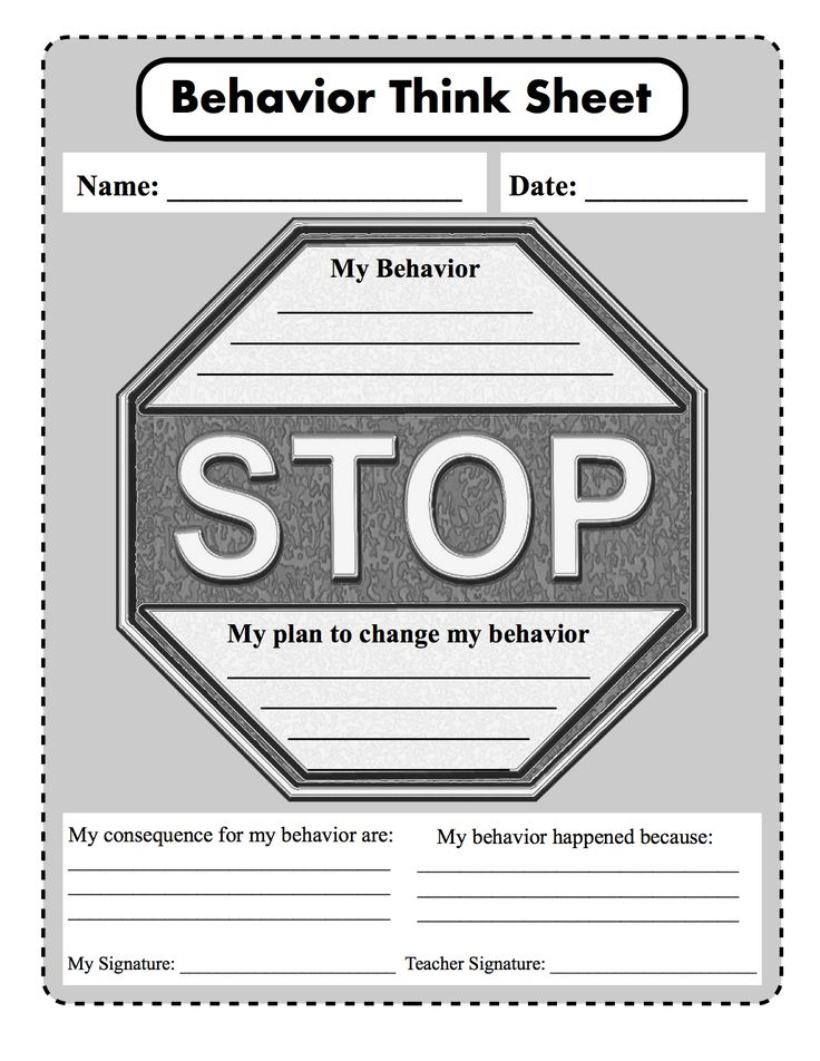 stop think and choose  behavior  consequence  plan to change from  mypbis