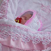"""Работы для детей, ручной работы. Ярмарка Мастеров - ручная работа Одеяло на выписку для новорожденного """"нежная роза"""". Handmade."""
