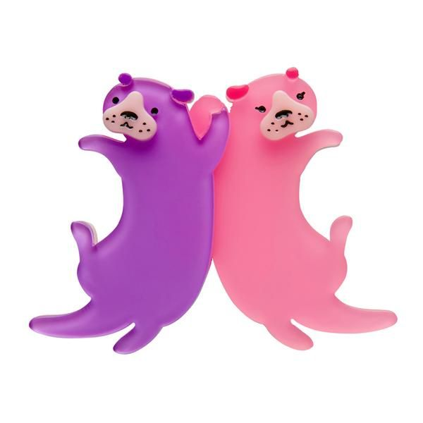 """Erstwilder Collectible Eric's Otters Brooch. """"We'd say it's rather obvious that this otterley adorable pairing have an exceptionally close bond."""""""