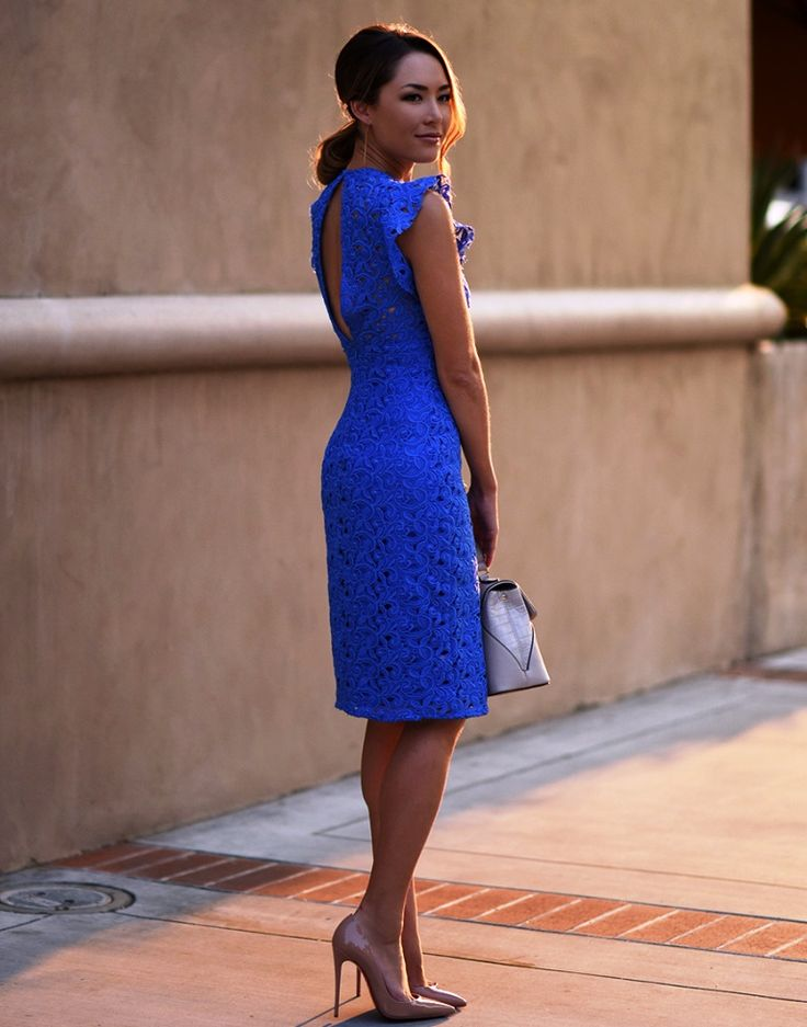 cobalt blue lace dress with nude heels