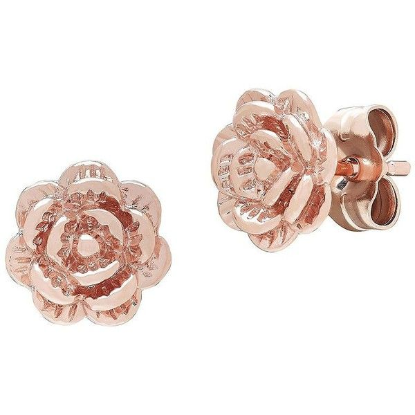 Lord Taylor 14k Rose Gold Flower Stud Earrings 250 Sgd Liked On Polyvore Featuring Jew Flower Earrings Studs Rose Gold Earrings Studs Gold Earrings Studs