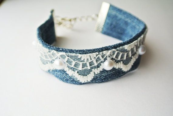 Beautiful elegant lacy denim cuff bracelet by InnessaBoutique