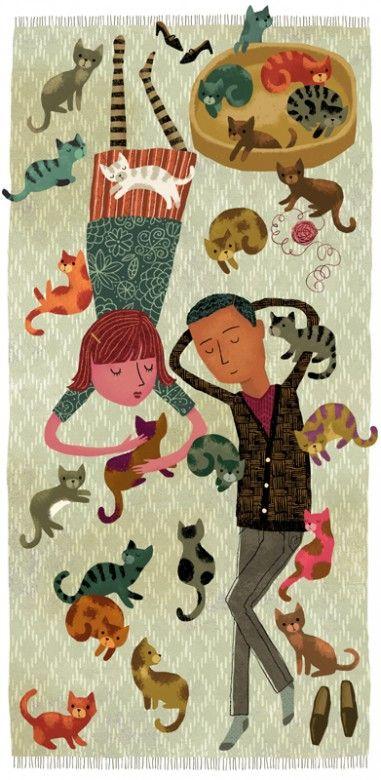 People Cats Illustration