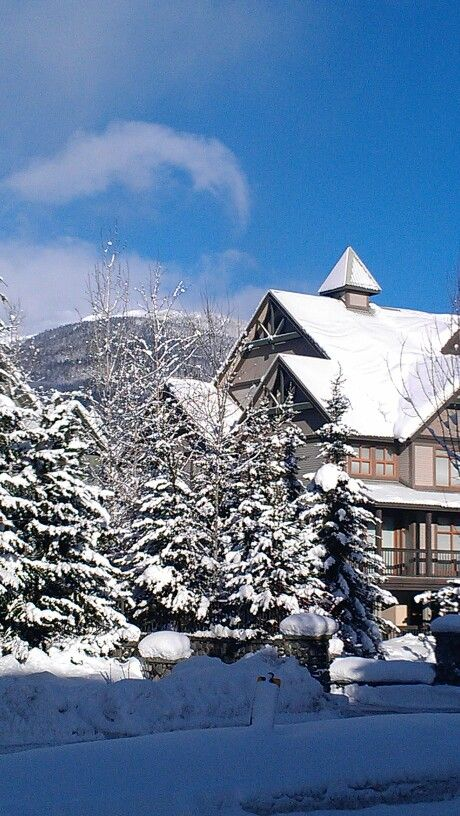 Whistler #snow capped #ski #chalets+#Mountains+#trees+#forest