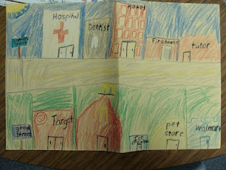 Goods and Services Street. Students draw a street where one side was businesses that sold Goods and the other side provided Services.