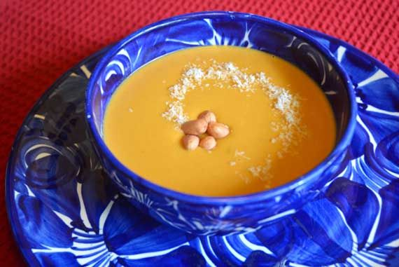 Clean Eating Sweet Potato Soup with Peanut Butter and Coconut Milk --- Guest post by Anne's Health Kitchen on The Gracious Pantry.com